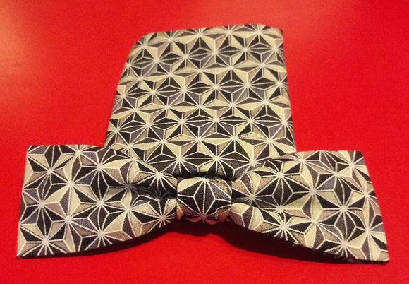 Black & Gray Faceted Geo Printed Bow Tie Set