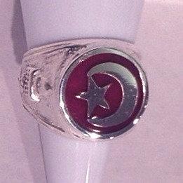 Men's Silver & Enamel Star & Crescent Ring