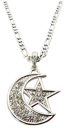 Faux Diamond & Silver Moon & Star Pendant
