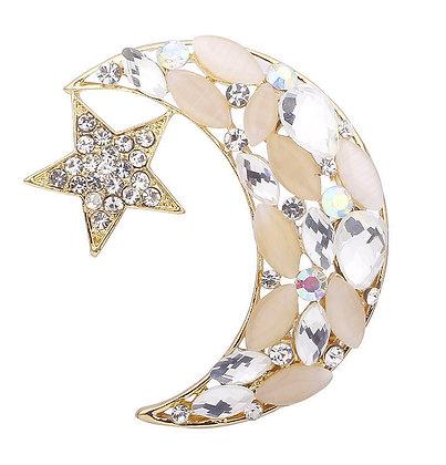 Beige White & Crystal Star & Crescent Brooch