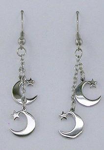 Silver Double Moon & Star Dangle Earrings