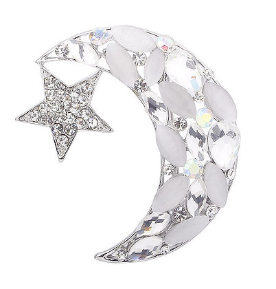 White Crystal Star & Crescent Brooch