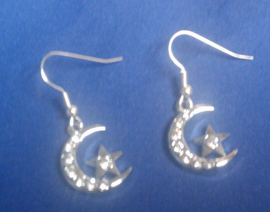 Silver Star & Crescent Earrings