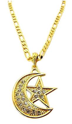 Faux Diamond & Gold Moon & Star Pendant