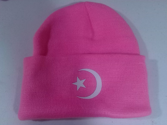 Bright Pink Moon & Star Winter Hat