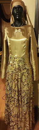 Gold Leme` and Sequin Full Length Dress