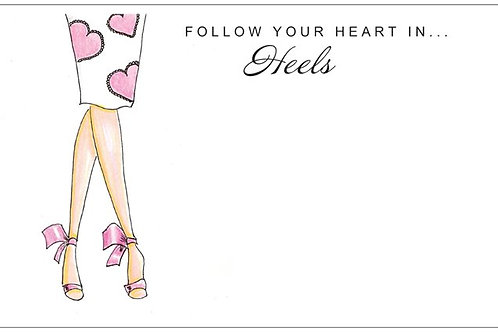 Follow Your Heart In Heels | 5x7 Notecards set of 10 | Stationery