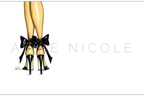 Black Bow Heels | 5x7 Notecards set of 10 | Stationery