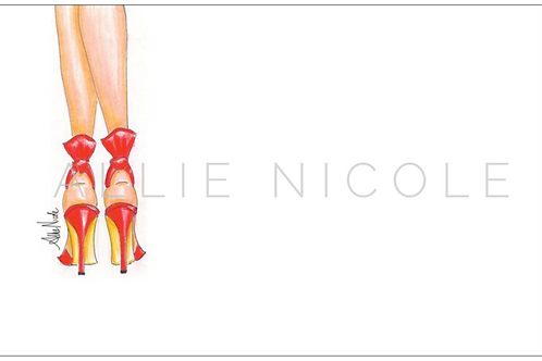 Red Heels | 5x7 Notecards set of 10 | Stationery
