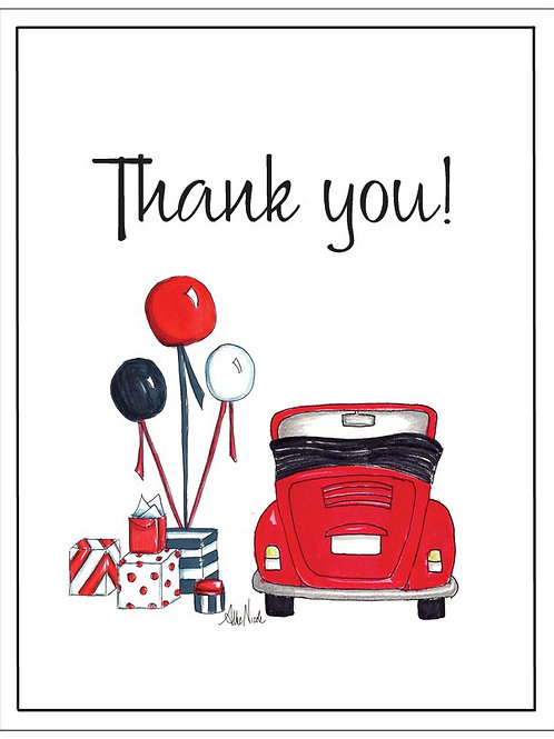 Red Love Bug Thank You Card Set