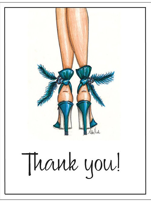 "Teal Heels | 5.5""x4"" Thank You Card Set 