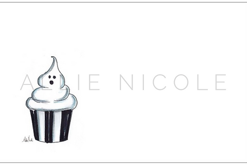 Ghost Cupcake | 5x7 Notecards set of 10 | Stationery