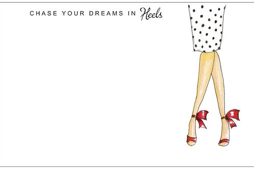 Chase Your Dreams Heels | 5x7 Notecards set of 10 | Stationery