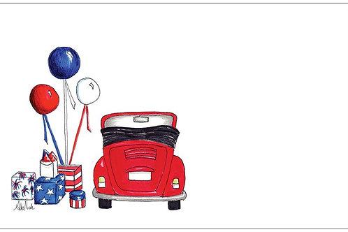 Patriotic Love Bug | 5x7 Notecards set of 10 | Stationery