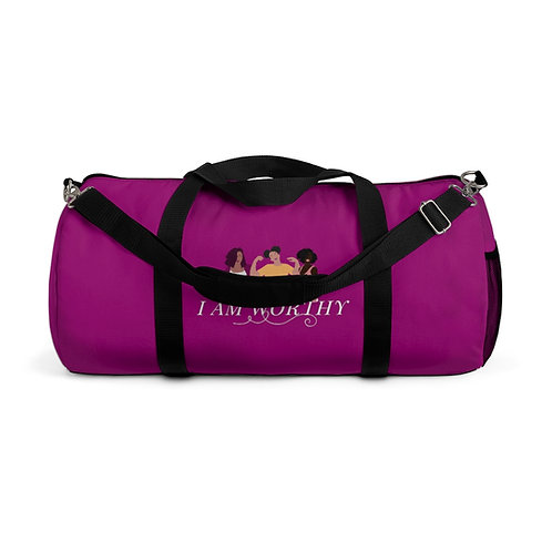 I AM WORTHY - Duffel Bag (Magenta)