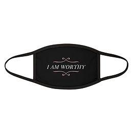 Black I AM WORTHY Mixed-Fabric Face Mask