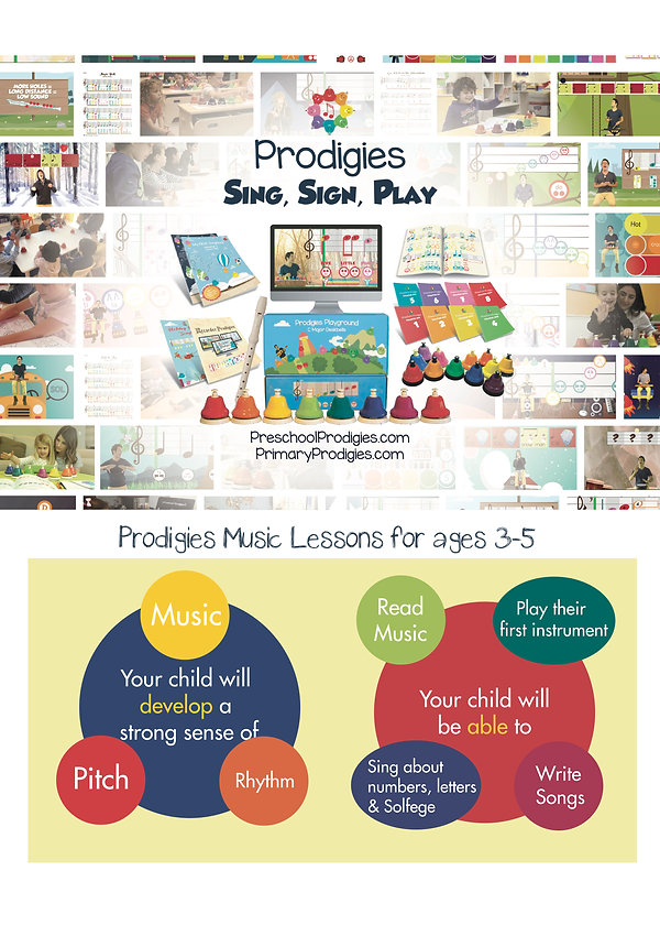 Prodigies Music program curriculum description and pictures with colorful bells, learning with music books and technology.