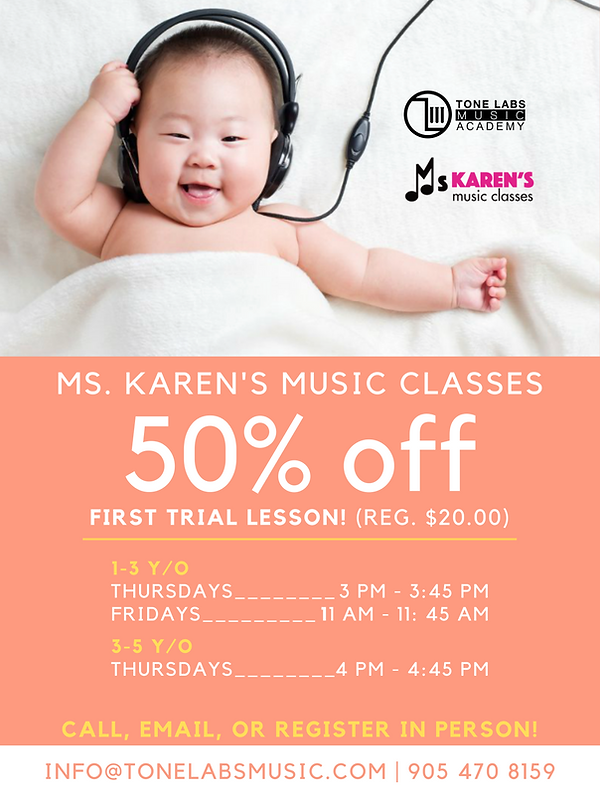 Poster of baby enjoying music at Tone Labs Music baby and toddler music classes for 50% off Thursdays and Fridays.