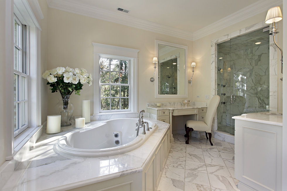 Master bath in luxury home with step up