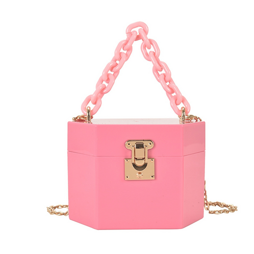"""""""Locked In"""" Pink Chain Purse"""