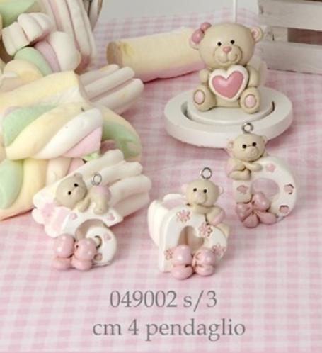 Pendaglio Orsetto per sacchettini/scatole rosa battesimo nascita bimba