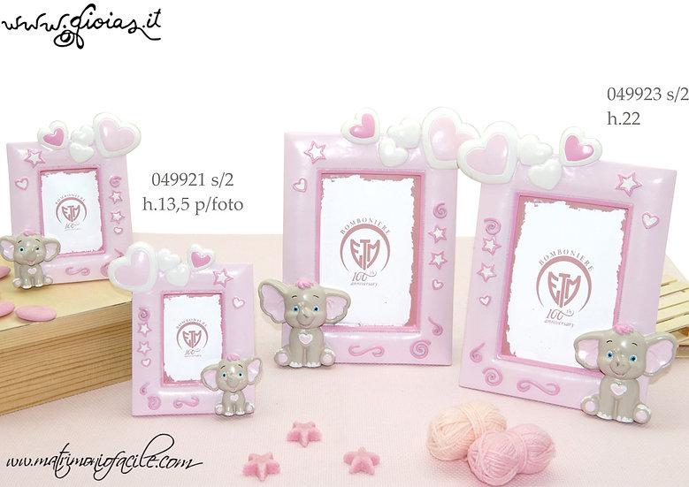 Bomboniera Cornice portafoto Elefantino rosa nascita battesimo