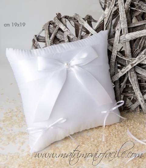 Cuscino portafedi Fiocco bianco