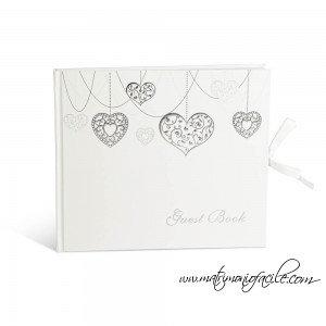 Guest book bianco con cuori matrimonio