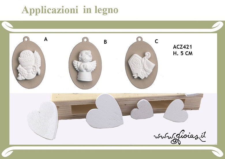 Applicazione legno/gesso COMUNIONE calice angelo