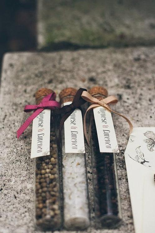 Provetta con tappo in sughero confetti personalizzato