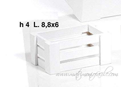 Portaconfetti - Cassettina in legno bianca giardino shabby
