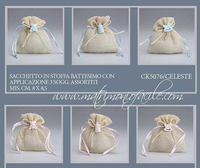 Portaconfetti  Sacchetto tessuto con applicazione