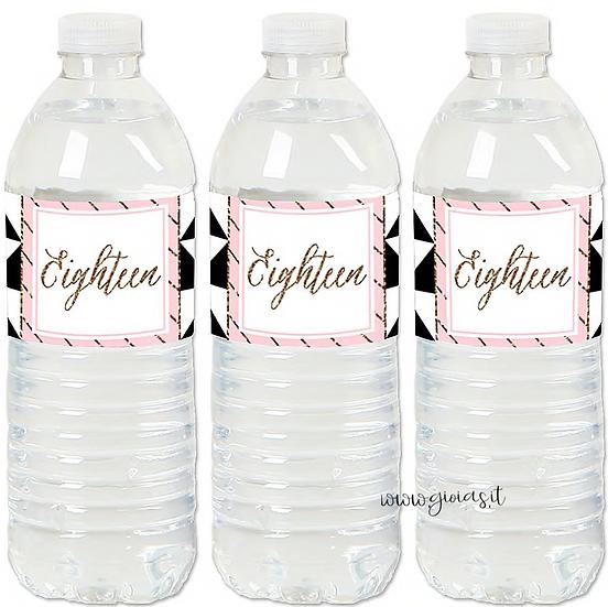 Etichette per acqua personalizzate 18 anni