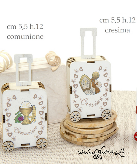 Portaconfetti legno TROLLEY comunione/cresima