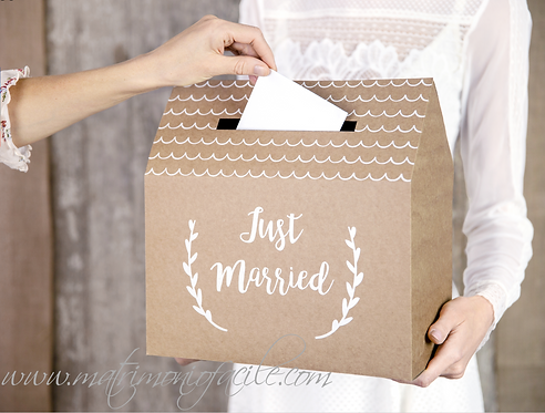 BOX LETTERE/BUSTE - JUST MARRIED matrimonio regali soldi
