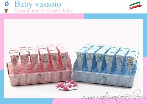 Portaconfetti - Baby Vassoio  + 24 coni + applique