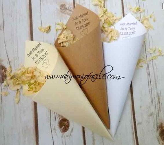 Coni personalizzati portaconfetti riso matrimonio chiesa
