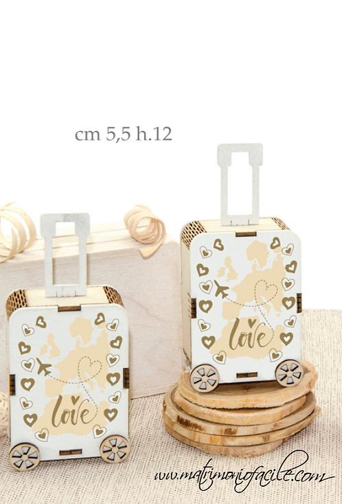 Portaconfetti legno TROLLEY tema viaggio matrimonio