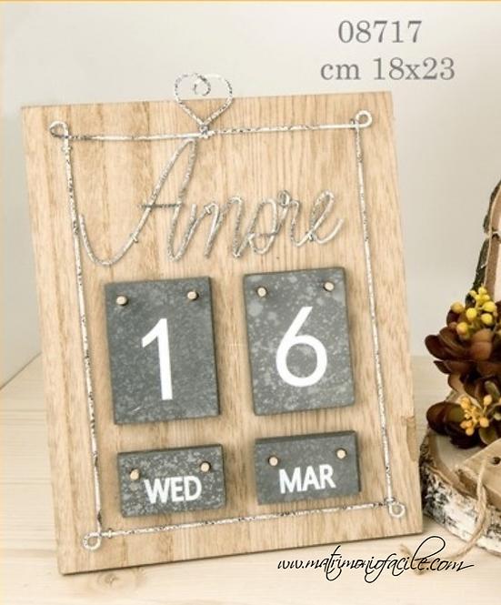 Calendario perpetuo Amore legno nascita