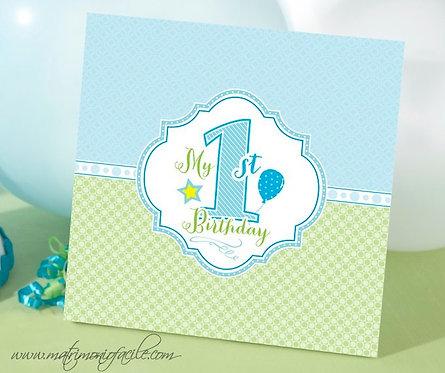 """Libro Memorie """"Il mio primo compleanno"""" in azzurro"""