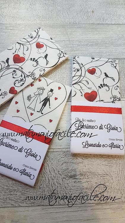 LACRIME DI GIOIA - Portafazzoletto + fazzolett.sposi + raso