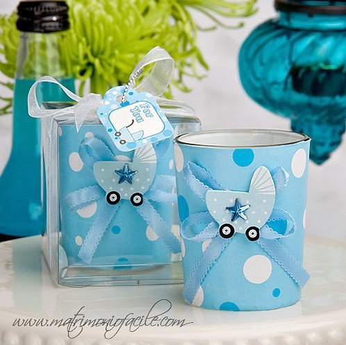 Candela Bicchiere Carrozzina in azzurro