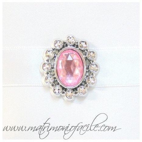 Applique nastri Ovale con pietra e cristalli