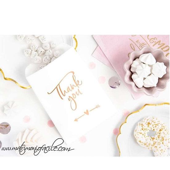 Sacchetti carta - thank you - Oro/rosa