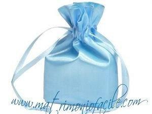 Portaconfetti  Sacchetto raso  azzurro