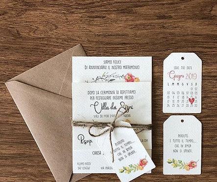 partecipazione shabby matrimonio cerimonia biglietto