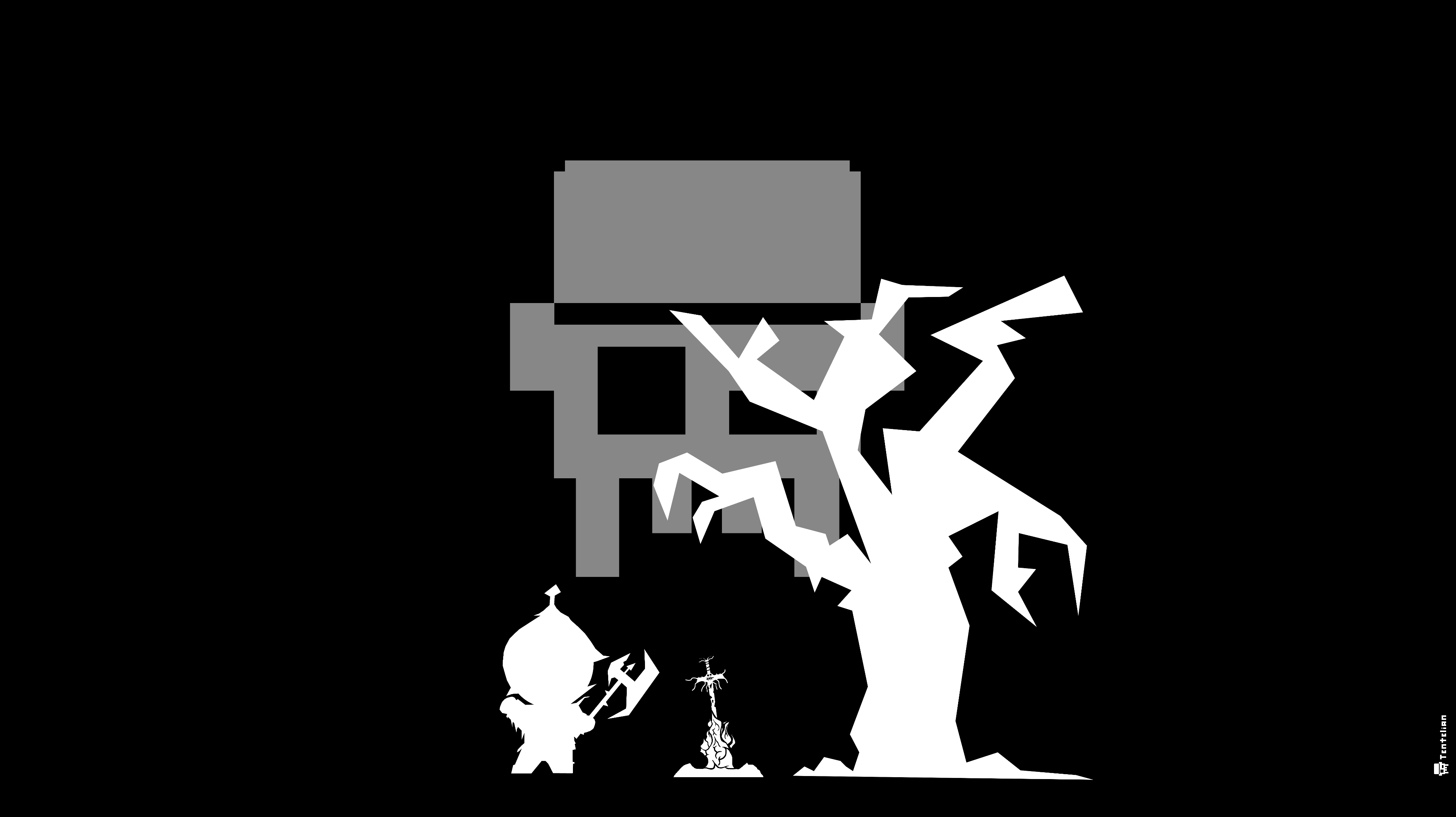Tentelian Fantasy Lagerfeuer Hintergrundbild 4K