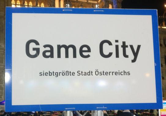 GameCity 2017 Ortsschild Österreich