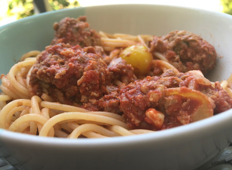 Spaghetti & Beef and lentils meatballs