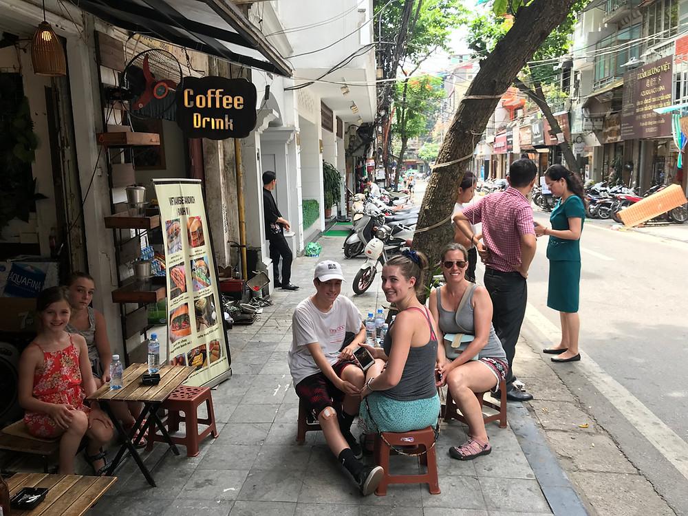 Hanoi Vietnam sidewalk restaurant